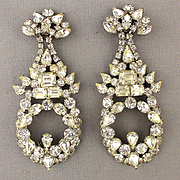 Vintage Big Long Faux Diamond Earrings Bold Gorgeous Bling Clips