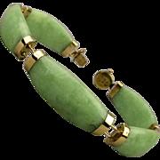 Estate 14k Gold Jade Link Bracelet - Curved Celadon Jadeite