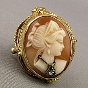 14k Gold Carved Shell Cameo Ring Habille Diamond
