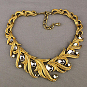 Big Bold 1980s TRIFARI Necklace Clear Drop Jewels in Goldtone Vines