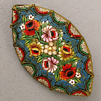 Old Italian Micro Mosaic Tile Pin Brooch c1920s Floral