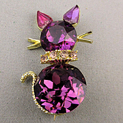 1950s Signed DODD'S Purple Rhinestone Cat Pin Brooch