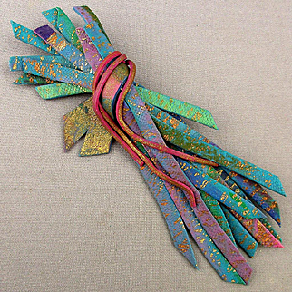 Vintage c1960 Art Pin Made of Hand Painted Leather