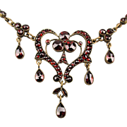 SOLD - Victorian Bohemian Czech Garnet Festoon Necklace