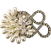 Great Gaudy Glam Rhinestone Faux Pearl Pin 1980s Classic