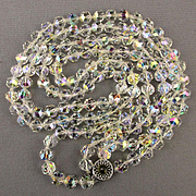 Austrian Crystal Two-Strand Bead Necklace 14K Gold Clasp