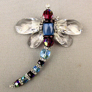Large Crystal Dragonfly Pin w/ Moving Wings - Big Brooch