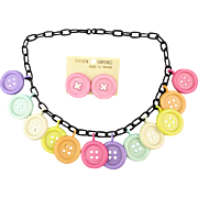 Vintage Plastic Button Charm Necklace w/ Post Earrings 1970s