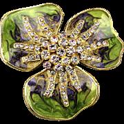 Big Enamel Crystal Rhinestone Flower Pin