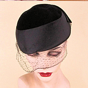 c1960 High Style Black Hat w/ Rhinestone Accent Opera Italy to Texas