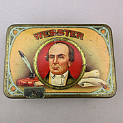 Old c1920s WEBSTER Tin Litho Tobacco Cigar Advertising Tin Box
