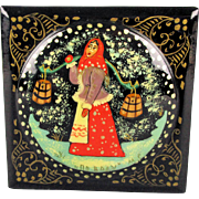 Russian Fedoskino Lacquer Box Woman w/ Water Buckets