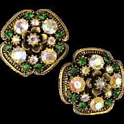 Vintage Florenza Clip Back Rhinestone Earrings