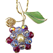 Signed HOBE Crystal Enamel Flower Pendant Necklace
