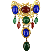 Large Regal Pin Brooch Pendant R-B-G Cabochons Dangles