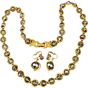 JONNE By Schrager Necklace Earrings Set Demi Parure AB Crystal