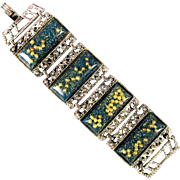 1950s Wide Lucite Link Bracelet w/ Pearls n Confetti