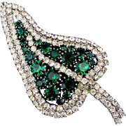 Big Vintage Faux Diamond - Emerald Rhinestone LEAF Pin Brooch