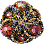 Intricate Ornella Jeweled Pin Brooch Crystals Beads Italy