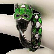 Vintage Sterling Silver Enamel Snake Ring Wraparound