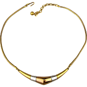 Modernist Trifari Sleek 3 Tone Necklace
