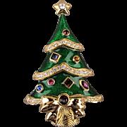 Vintage Kenneth J. Lane Christmas Tree Pin for Franklin Mint - Rhinestone Enamel