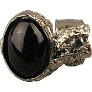 Vintage Yves Saint Laurent Free Form Ring w/ Black Glass Cab