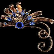 Art Deco ENZELL Sterling Silver Flower Pin w/ Rhinestones