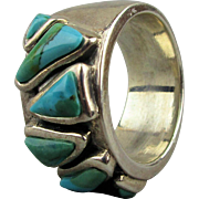 Wide Band Ring of Sterling Silver - Turquoise