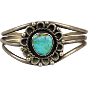 Vintage Sterling Silver Cuff Bracelet w/ Turquoise Cab Flower