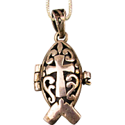 Sterling Silver Christian Fish Prayer Box Pendant Necklace