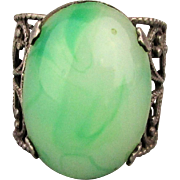Signed Jade Sterling Silver Ring - Big Stone - Openwork Band