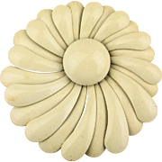 Big 1960s White Enamel Flower Pin - Whirl of Petals