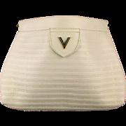 Vintage Mario Valentino White Leather Signature Clutch Handbag