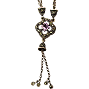 Sterling Silver Marcasite Amethyst Necklace Sautoir - SO Pretty