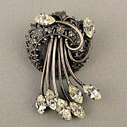 French Brevete Rhinestone Dress Clip Pin Brooch
