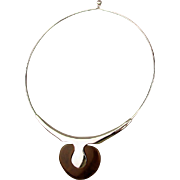 Art Deco Chrome Bakelite Band Necklace