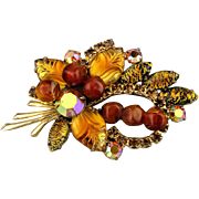 Signed WEISS Poured Glass - Rhinestone Pin Brooch
