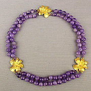 Signed Carlisle Amethyst Bead Necklace w/ Gilt Flower Trio