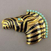 Alana Stewart Zebra Pin Brooch Enamel Turquise Glass