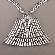 1970s MONET Modernist Pendant Necklace - Sculptural Silvertone Grid