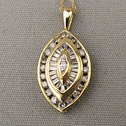 10K Yellow Gold Drop Pendant Necklace w/ 1/2 T W Carat Diamonds