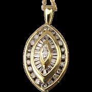 10K Yellow Gold Drop Pendant Necklace w/ 1/2 T W Carat Diamonds