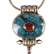Tibetan Sterling Silver Gau Prayer Box Pendant Necklace w/ Coral / Turquoise