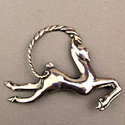 Art Deco Los Castillo Taxco Sterling Silver Pin Leaping Gazelle 1940s