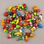 Vintage Mexican Fruit Salad Charm Necklace w/ Pottery Fish n Birds Too
