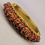 Vintage Rhinestone Clamper Bracelet - 3 Rows of Amber Glow