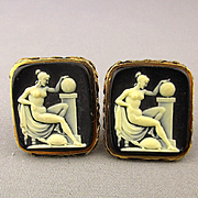 Dante Carved Incolay Cameo Nude Cufflinks Museum Collection