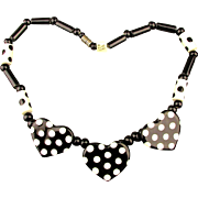 FLYING COLORS Ceramic Hearts Necklace Black White Dots Spots