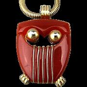 Modernist Crown Trifari Lucite OWL Pendant Necklace